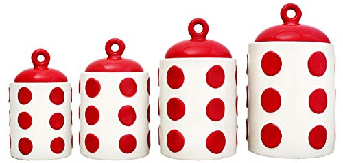 ACK Tuscany 3D Red Dots, Hand Painted Ceramic 4pc Canister Set, 82201