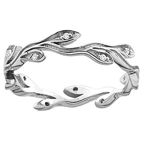 10K White Gold Diamond Olive Branch Engagement Ring 3/16 inch wide, size 8 (Leaf Ring White Gold)