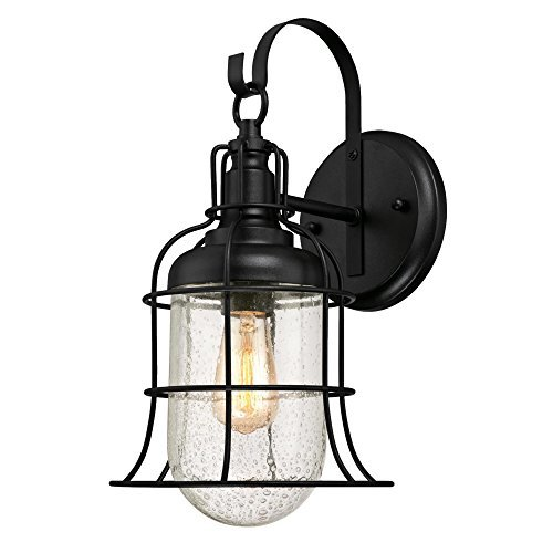 Westinghouse Lighting 6347100 Tavern One-Light Outdoor Wall Fixture, Textured Black Finish with Clear Seeded Glass [並行輸入品] B07RBPX8X8