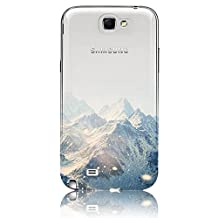 Galaxy Note 2 Case,Vandot Luxury Exclusive Colorful Printed Painting Cover Ultra Slim Thin Perfect Fit Protective Pattern With Soft TPU Silicone Bumper+Hard PC Matte Transparent Back Cover For Samsung Galaxy Note 2 N7100-White Snow Mountain