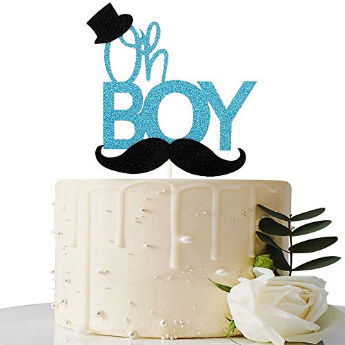 Blue Glitter Oh Boy Cake Topper with Black Hat and Mustache, Gender Reveal Cake Topper, Baby Boy Shower, Birthday Party Decorations]()
