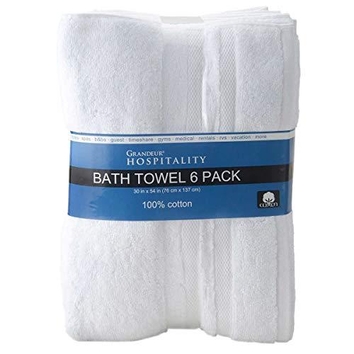 "Grandeur Hospitality Bath Towel 6 Pack 34"" x 54"" 100% Cotton 6 Pack from Grandeur Hospitality"