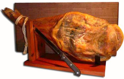 Ganze Serrano Schinken Keule im Set mit Halterung und Messer direkt aus Spanien - vollständiges Geschenkset im praktischen Karton