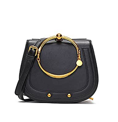 Ainifeel Women's Leather Handbags With Bracelet Handle On Clearance (Black)