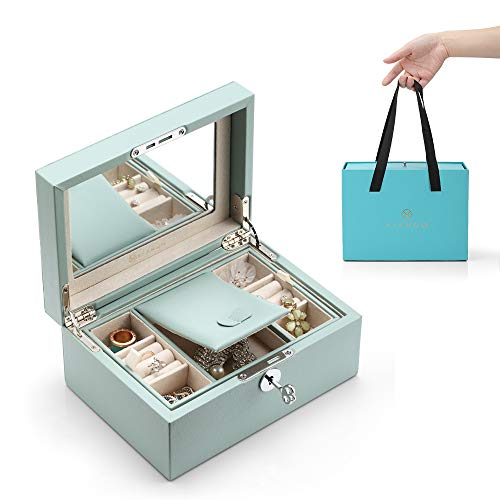 - Vlando Lockable Jewlery Box, Two Tray Jewelries Collections Organizer, Girls Gift -Aqua Green