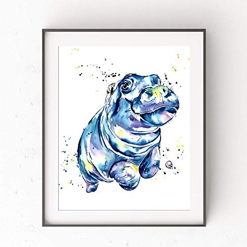 - Hippo Wall Art by Whitehouse Art | Hippo Gifts, Kids Bedroom Decor, Kids Bathroom Decor | Professional Print of a Hippopotamus Original Watercolor Painting| Artwork | Baby Nursery Decor | 2 Sizes