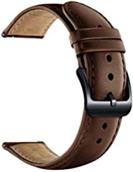 LEUNGLIK 20mm Watch Band Quick Release Leather Watch Bands with Black Stainless Pins Clasp -Brown