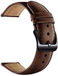 20mm Watch Band Quick Release Leather Watch Bands with Black Stainless Pins Clasp -Brown