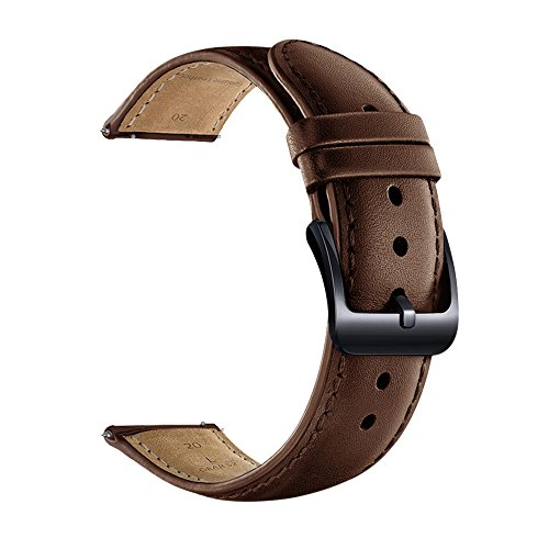- LEUNGLIK 20mm Watch Band Quick Release Leather Watch Bands with Black Stainless Pins Clasp -Brown