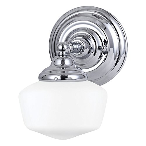 Sea Gull Lighting 44436-05 Academy One-Light Bath or Wall Light Fixture with Satin White Glass, Chrome Finish