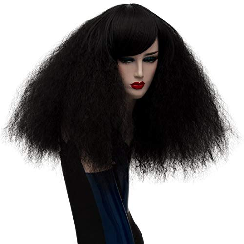 ELIM Short Curly Wigs Black Cosplay Wigs Fluffy Halloween Costume Wigs Synthetic Hair Oblique Bangs for Women with Wig Cap Z079C -