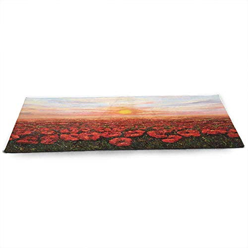 Flower Eco Friendly Yoga Mat Wild Opium Poppy with Petals Field in Front of Sunset Artistic Picture for Joint Health and Physical Therapy W24 x L70 Pale Blue Green Red