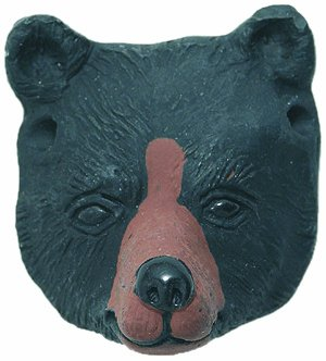 Bear Face Pendant - Shipwreck Beads 23 by 27mm Peruvian Hand Crafted Ceramic Bear Face Beads, Black, 3 per Pack