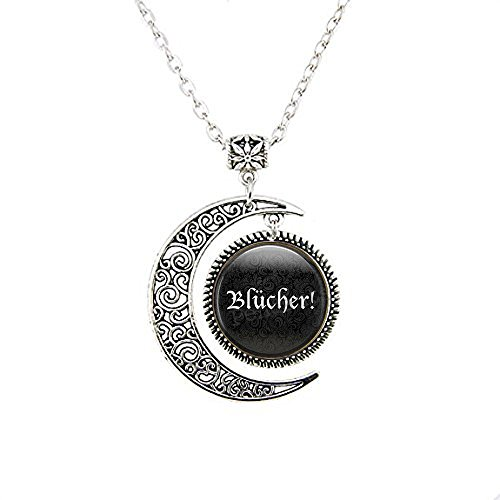 Blücher ! Halloween Costume Moon Necklace Jewelry - Frankenstein Moon Necklace - Halloween Jewellery - Frau Quote - Cosplay Moon Necklace]()