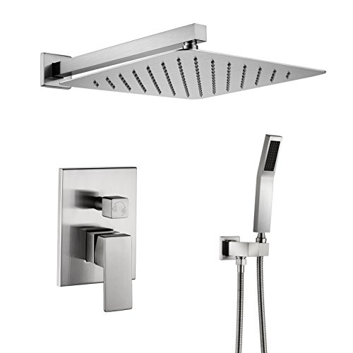 Artbath Shower System-12 Inch Wall Mount Shower Set with Rain Showerhead and handheld,Shower Faucet Rough-In Valve Body and Trim Included,Luxury Rain Shower Combo Set,Brushed Nickel Finish