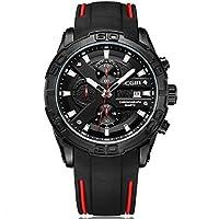 Megir Wrist Watch for Men, Silicone, MN2055G-BK-1