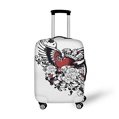 Modern Stylish Luggage Cover,Tattoo Style Heart Crown with Wings Artictic Love Valentines Gothic Romance Graphic for Luggage,M(19.6''W x 28.9''H) ()