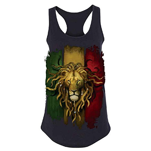 Zexpa Apparel Rasta Lion Rastafarian Haile Selassie Women's Racerback Fashion Quality Shirt Black (Selassie Halloween)