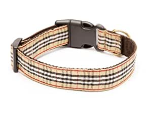 "Poochberry Adjustable Nylon Webbing Dog Collar,  Brown with Plaid Ribbon, Small Size, 9""-15"""
