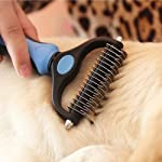 Aeska Grooming Dematting Comb, Dual-head Stainless Steel Rakes comb 17+9 Blades [Safety] [Anti-slip] 2 Sided Skin-care…