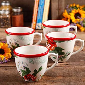 The Pioneer Woman Flea Market 17 oz Decorated Coffee Cups, Country Garden, Set of 4 ()