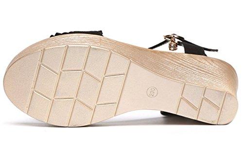 DADAWEN Women's Open Toe Ankle Strap Wedge Heel Sandals Pink LiadI