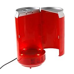 Mini USB PC Fridge Beverage Drink Cans Cooler & Warmer Red