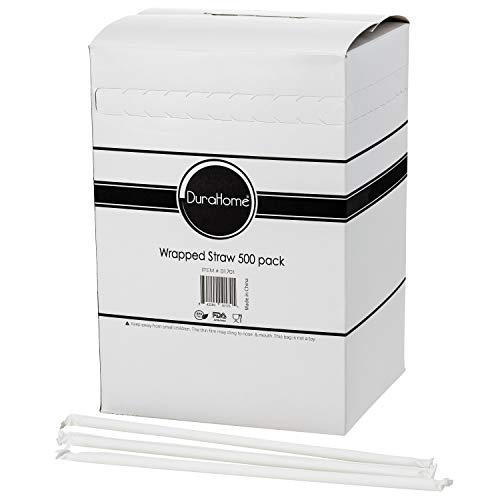 DuraHome Clear Plastic Straws 500 Pack - Individually Wrapped Drinking Straw 7.75 inches long, BPA Free - Restaurant Style Disposable Straws