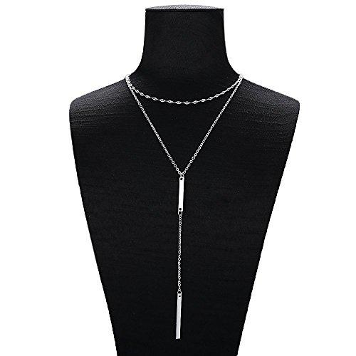 (FineMe Layered Bar Pendant Choker Necklace Adjustable Boho Handmade Drop Stick Bar Chain Y Necklace Statement Silver Lariat Minimalist Sexy Long Necklace Women Girls)