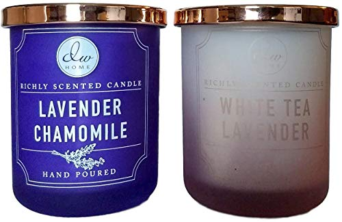 - DW Home Gift Set Hand Poured 4 oz Richly Scented Candles Set of 2 in Gift Box (Lavender Chamomile/White Tea Lavender)