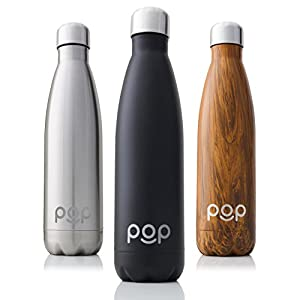 POP Design Water Bottle, Keeps Cold 24hrs. or Hot for 12hrs, Sweat & Leak-Proof, Narrow Mouth & BPA Free, 500ml or 750ml, 3 Color