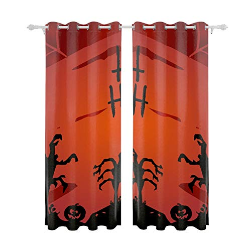 Verna Christopher Blackout Curtain Panels Window DraperiesHappy Halloween 55x84 Inch 2 Pieces Insulating Room Darkening Blackout Drapes for Bedroom ()