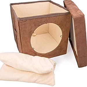 "Cat Condo Pet Cube (15x15x15) - Cat House Pet Bed Hideaway for Your Kitty's Privacy and Entertainment! Durable, Washable, Easy to Clean & Non-Toxic Cat Bed - Large 8.5"" Entry with Easy Carry Handle! 63"