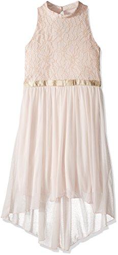 Speechless Big Girls' Foil Lace/ Gold Ribbon Waist Hi-Low Dress, Blush/Gold, (Girls Hi Low Dress)