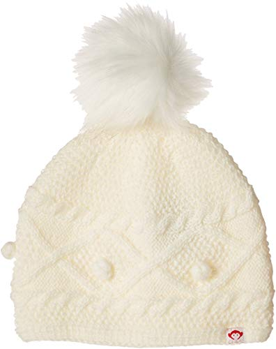 Appaman Kids Baby Girl's Soft Cable Knit Print Himalaya Hat with Faux Fur Puff Ball (Infant/Toddler/Little Kids/Big Kids) White SM (6-18 Months) ()