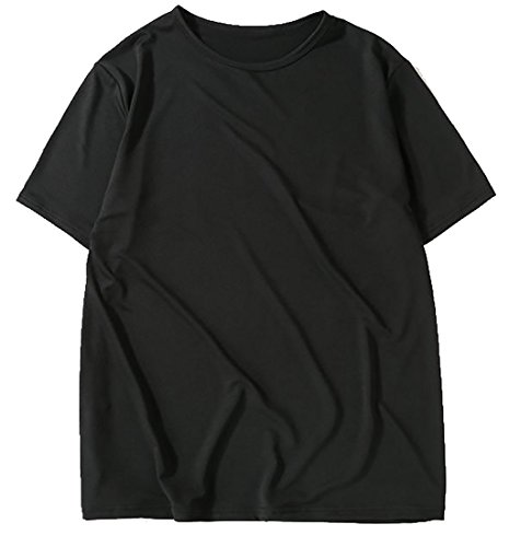 ARRIVE GUIDE Mens Short Sleeve Round Neck Plain Loose Soft Tops Tee Black Small by ARRIVE GUIDE