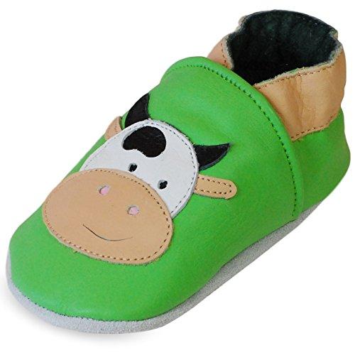 Zapatillas de Niño Niña - Patucos de cuero con elástico para Bebé - Zapatillas Primeros Pasos - Zapatillas infantiles -pescado verde con una vaca