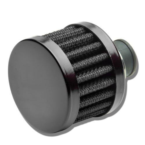 9MM Inlet Universal Chrome Round Straight Aluminum Crankcase Breather Filter - Chrome Crankcase