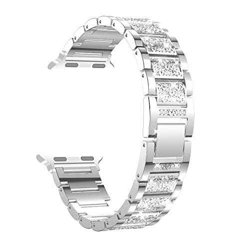 Fotbor Bling Bands Compatible for Apple Watch 40mm Series 4 and 38mm Series 3/2/1 iWatch, Diamond Rhinestone Stainless Steel Bracelet Replacement Wristband Strap for Women Girls, Silver