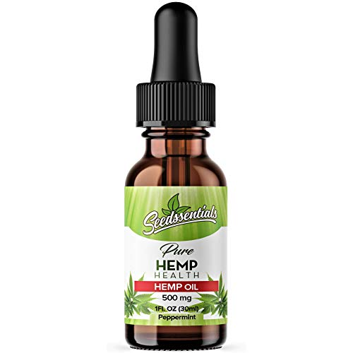 Pure Hemp Oil Extract Drops: 500 mg Cold Pressed Organic Leaf & Seed Herbal Oils Supplement for Daily Use - Anti Anxiety, Stress Relief, Pain Management & Skin Health - Peppermint Flavored - 1 fl. oz.