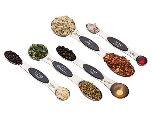 Stainless Steel Measuring Spoons - 5 Piece Set - Double Ended; Wide and Narrow - Magnetic Stackable Nesting Design - by -