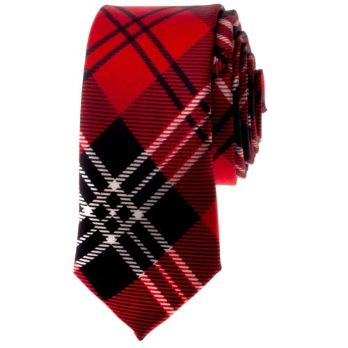 TopTie Unisex Black and Red Plaid Skinny 2 inch Necktie