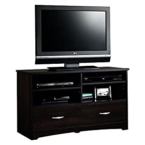 Sauder Beginnings TV Stand with Drawers, For TV's up to 46″, Cinnamon Cherry finish