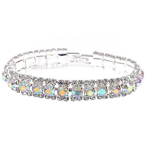 (Topwholesalejewel Bridal Bracelet Silver Aurora Borealis Rhinestone Cuff Bracelet With Fold Over Clasp)