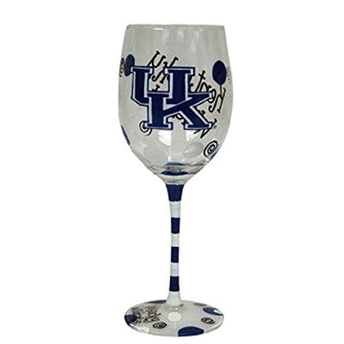 Kentucky Wildcats Blue and White Hand Painted Wine Glass (Wildcats Glass)