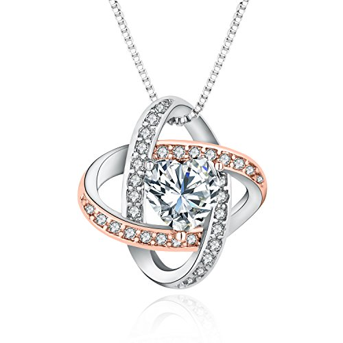 Brass Tone Crystals - Celtic Love Knot Necklace Two-Tone Brass Heart Crystal Pendant Jewelry (Rose&White Gold)