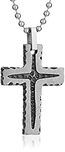 """Men's Stainless Steel Grey Stone Finish Textured Cross Pendant Necklace, 22"""""""