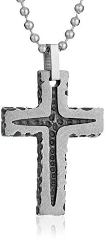 Men's Stainless Steel Grey Stone Finish Textured Cross Pendant Necklace, 22