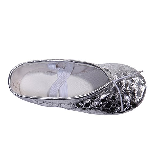 DoGeek Gold Ballet Shoes Women Ballet Pumps Belly Dance Gymnastic Shoes Slippers for Adults and Children Silver JBI2eXdTFk