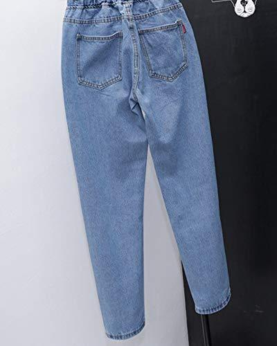 Yonglan Slim Donna Leggero Coulisse Vita Pantaloni Chiaro Elastica Harem Casual Jeans Azzurro Con Sciolto r0FqrS1g